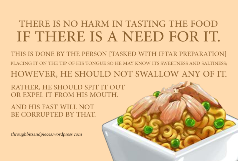Tasting food while fasting